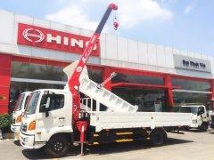 Xe tải Hino 2019 6 tấn thùng lửng 6.1m gắn cẩu Unic URV344